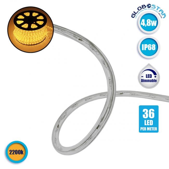 Φωτοσωλήνας LED Διάφανος 1m 4.8W/m 230V 36 LED/m Δίοδος 12mm 320lm/m Αδιάβροχος IP68 Θερμό Λευκό 4500k Dimmable GloboStar 22511