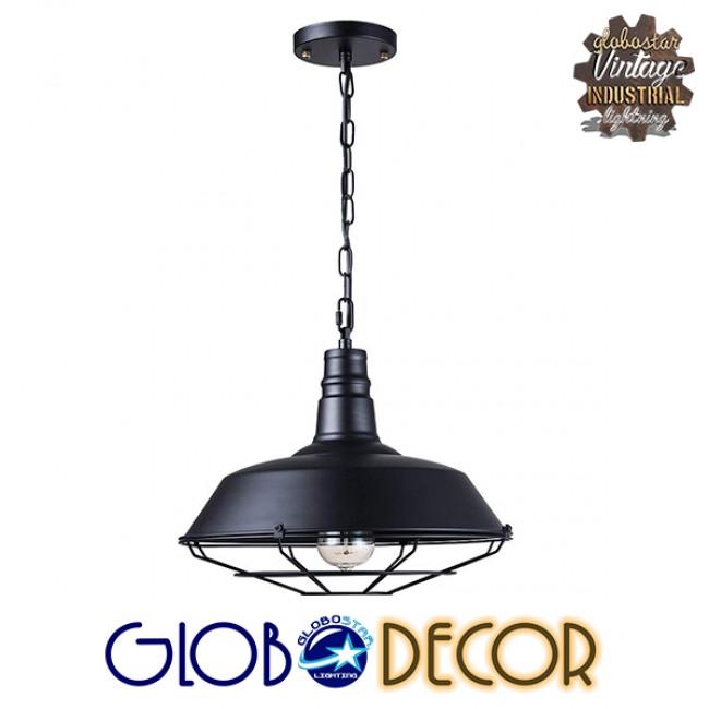 Vintage Industrial Κρεμαστό Φωτιστικό Οροφής Μονόφωτο Μαύρο Μεταλλικό Καμπάνα Φ46 GloboStar BARN BLACK 01048 - 2