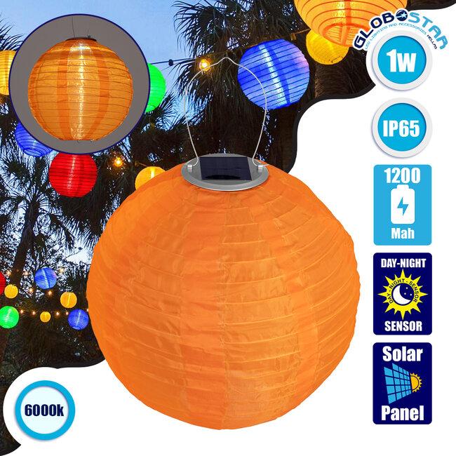 GloboStar® 71598 Αυτόνομο Ηλιακό Φωτιστικό Υφασμάτινη Πορτοκαλί Μπάλα Φ30cm LED SMD 1W 100lm με Ενσωματωμένη Μπαταρία 1200mAh - Φωτοβολταϊκό Πάνελ με Αισθητήρα Ημέρας-Νύχτας Αδιάβροχο IP65 Ψυχρό Λευκό 6000K - 1