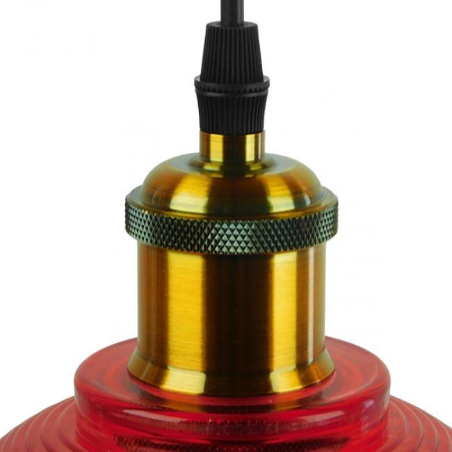 Vintage Κρεμαστό Φωτιστικό Οροφής Μονόφωτο Κόκκινο Γυάλινο Διάφανο Καμπάνα με Χρυσό Ντουί Φ14  SEGRETO RED 01450 - 6