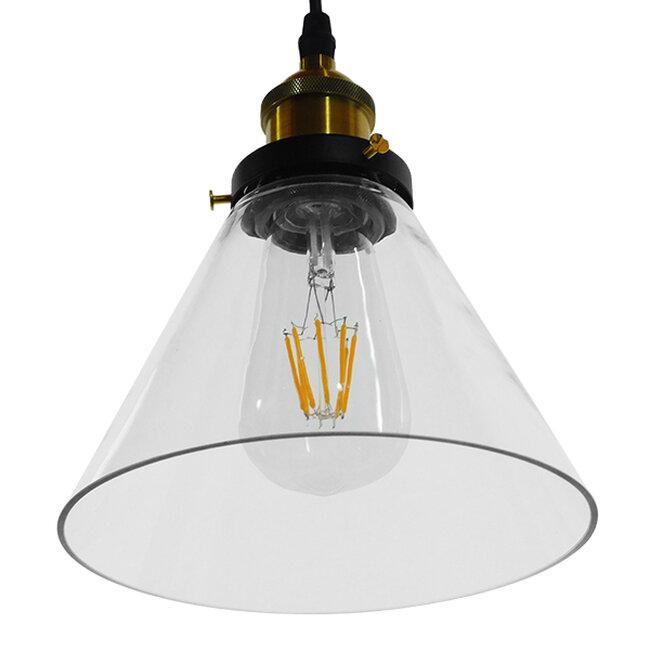 Vintage Κρεμαστό Φωτιστικό Οροφής Μονόφωτο Γυάλινο Καμπάνα Φ18  CONE 01169 - 6