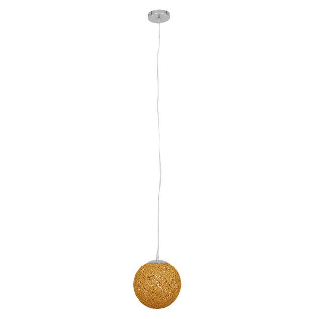 Vintage Κρεμαστό Φωτιστικό Οροφής Μονόφωτο Μπεζ Ξύλινο Ψάθινο Rattan Φ20 GloboStar RA 01200 - 2