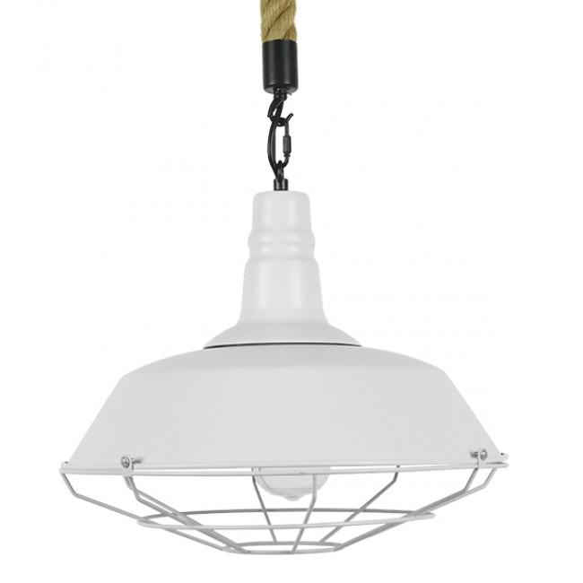 Vintage Industrial Κρεμαστό Φωτιστικό Οροφής Μονόφωτο Λευκό Ματ Μεταλλικό Καμπάνα Πλέγμα με Μπεζ Σχοινί Φ36 GloboStar NARANZA 01409 - 3