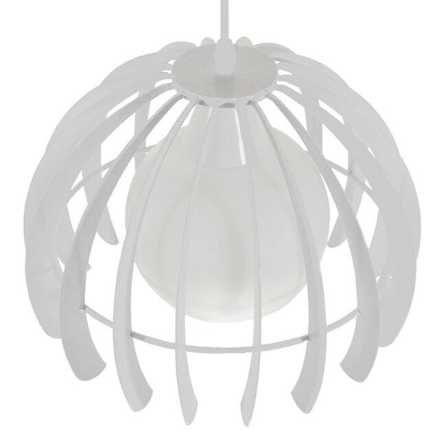 Μοντέρνο Κρεμαστό Φωτιστικό Οροφής Μονόφωτο Λευκό Μεταλλικό Πλέγμα με Λευκό Γυαλί Φ26  STEPHEN 01225 - 5