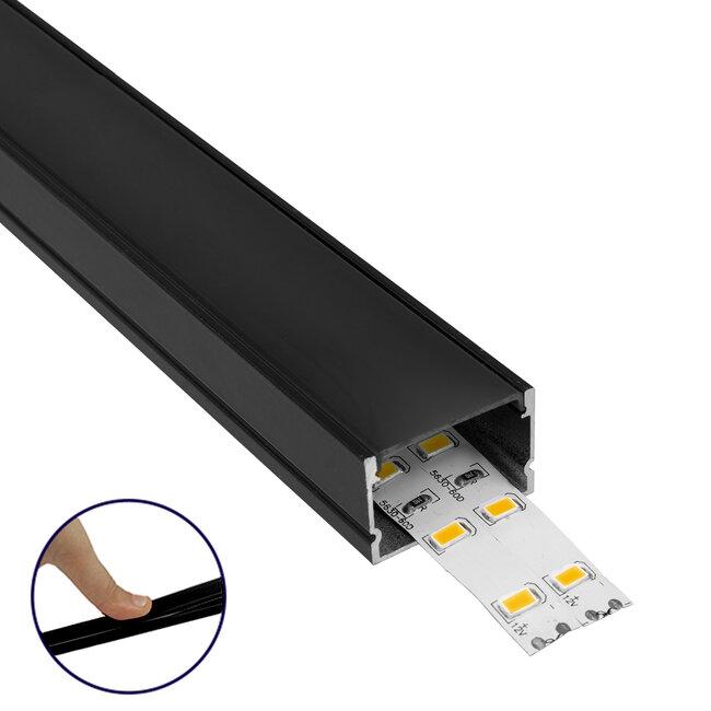GloboStar® 70825-3M Επιφανειακό Προφίλ Αλουμινίου Μαύρο με Μαύρο Οπάλ Κάλυμμα για 2 Σειρές Ταινίας LED Πατητό - Press On Πακέτο 5 Τεμάχια των 3 Μέτρων - 2