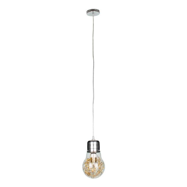LAMP 00807 Μοντέρνο Κρεμαστό Φωτιστικό Οροφής Μονόφωτο Ασημί Νίκελ Βάση και Χρυσό Ντουί Μεταλλικό Διάφανο Γυαλί Φ15 x Υ27cm - 4