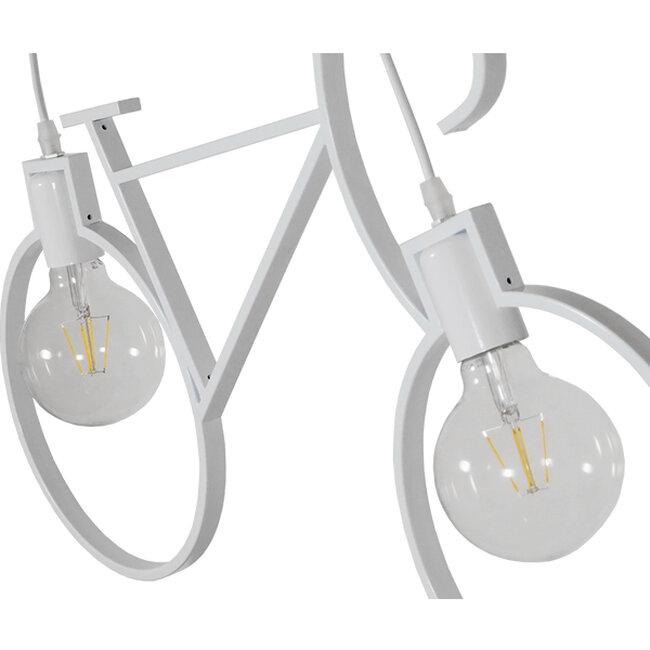 Vintage Κρεμαστό Φωτιστικό Οροφής Δίφωτο Λευκό Μεταλλικό  BIKE 01300 - 4