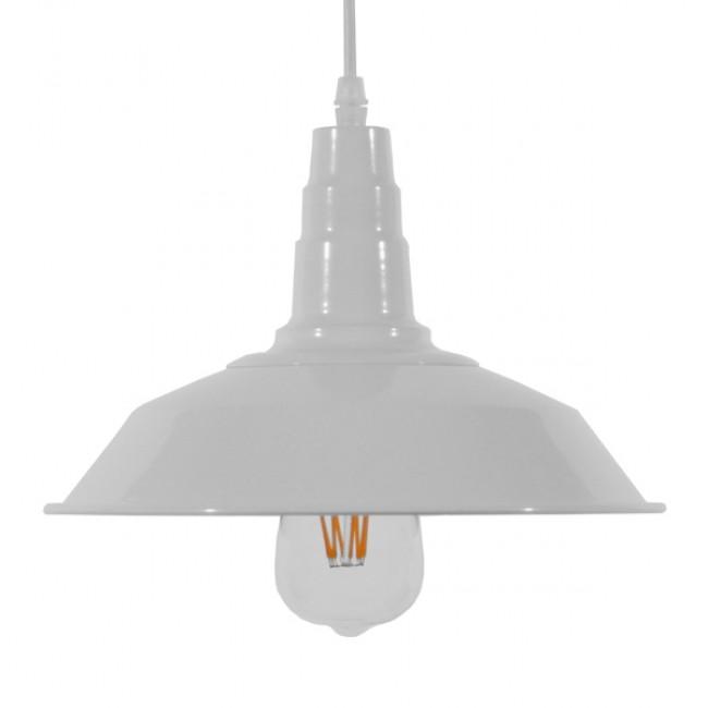Vintage Industrial Κρεμαστό Φωτιστικό Οροφής Μονόφωτο Λευκό Μεταλλικό Καμπάνα Φ26 GloboStar RAY WHITE 01044 - 3