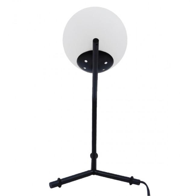 Μοντέρνο Επιτραπέζιο Φωτιστικό Πορτατίφ Μονόφωτο Μαύρο Μεταλλικό με Λευκό Γυαλί Φ23 GloboStar ELFRIS 01100 - 8
