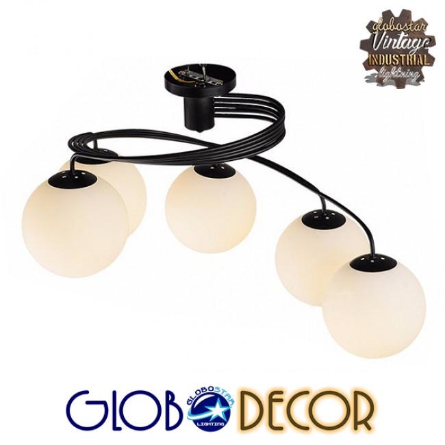 Μοντέρνο Φωτιστικό Οροφής Πολύφωτο Μαύρο Μεταλλικό με Λευκό Γυαλί Φ63  SELINA 01090 - 5