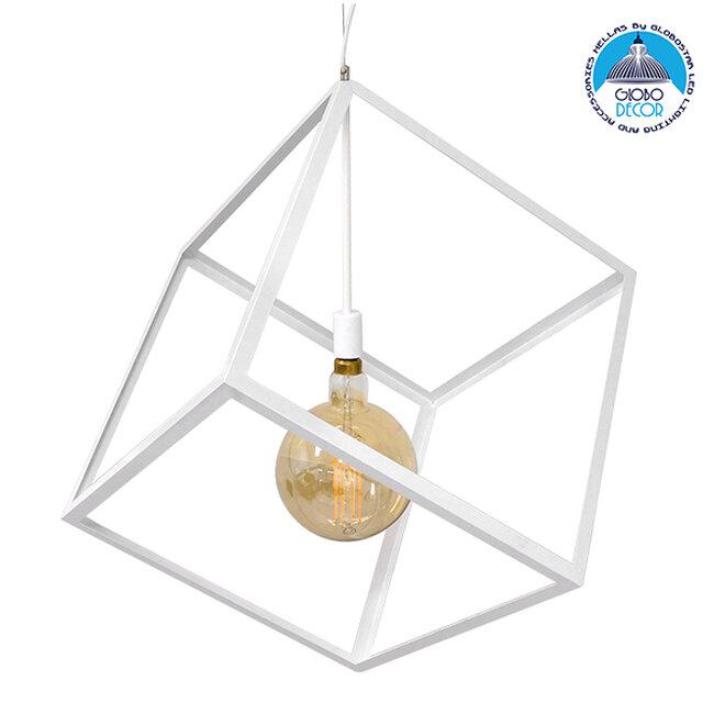 Μοντέρνο Κρεμαστό Φωτιστικό Οροφής Μονόφωτο Λευκό Μεταλλικό Πλέγμα 70x70x87CM  CUBE WHITE 70x70x87CM 01675 - 1