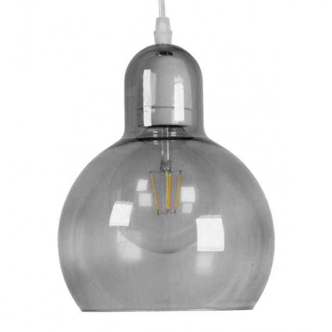 Μοντέρνο Κρεμαστό Φωτιστικό Οροφής Μονόφωτο Γυάλινο Γκρι Διάφανο Φ18 GloboStar BOSSANOVA 01313 - 3