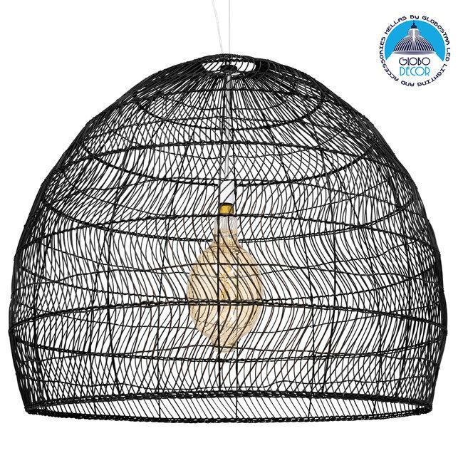 GloboStar® MALIBU 00966 Vintage Κρεμαστό Φωτιστικό Οροφής Μονόφωτο Μαύρο Ξύλινο Bamboo Φ97 x Y86cm - 1