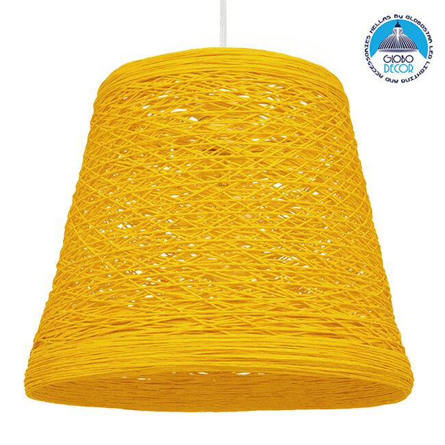 Vintage Κρεμαστό Φωτιστικό Οροφής Μονόφωτο Κίτρινο Ξύλινο Ψάθινο Rattan Φ32  ARGENT YELLOW 00998 - 1