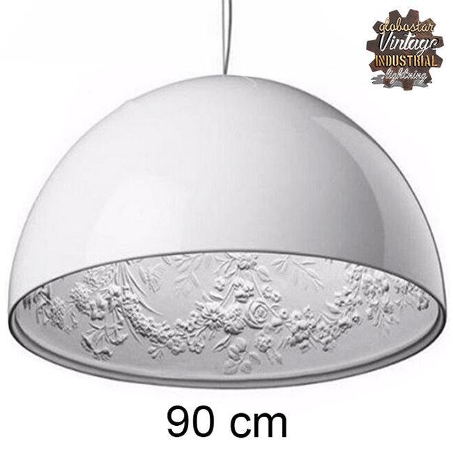 Μοντέρνο Κρεμαστό Φωτιστικό Οροφής Μονόφωτο Λευκό Γύψινο Καμπάνα Φ90  SERENIA WHITE 01273 - 2