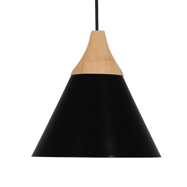 Μοντέρνο Κρεμαστό Φωτιστικό Οροφής Μονόφωτο Μαύρο Μεταλλικό με Ξύλο Καμπάνα Φ23  SHADE BLACK 00906 - 3