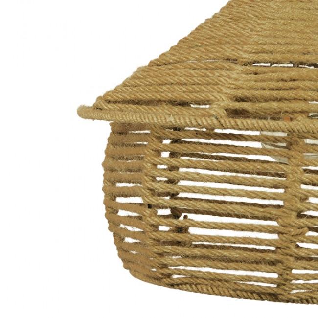 Vintage Κρεμαστό Φωτιστικό Οροφής Μονόφωτο Πλέγμα με Μπεζ Σχοινί Φ36 GloboStar SPIRIT 01607 - 8