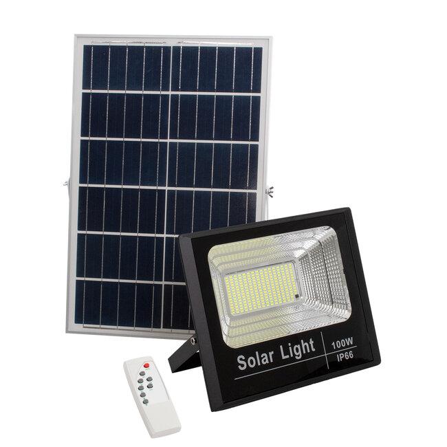 71557 Αυτόνομος Ηλιακός Προβολέας LED SMD 100W 8000lm με Ενσωματωμένη Μπαταρία 15000mAh - Φωτοβολταϊκό Πάνελ με Αισθητήρα Ημέρας-Νύχτας και Ασύρματο Χειριστήριο RF 2.4Ghz Αδιάβροχος IP66 Ψυχρό Λευκό 6000K - 2