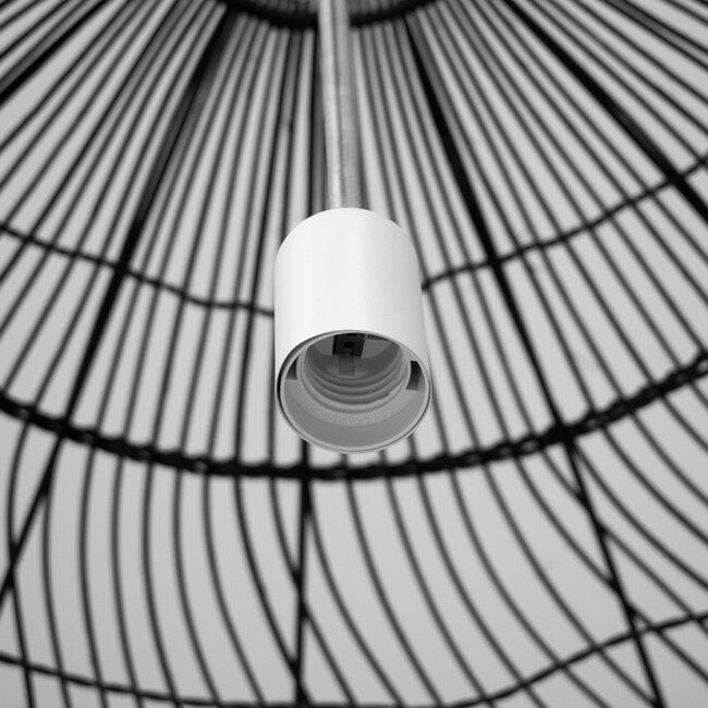 GloboStar® MALIBU 00966 Vintage Κρεμαστό Φωτιστικό Οροφής Μονόφωτο Μαύρο Ξύλινο Bamboo Φ97 x Y86cm - 7