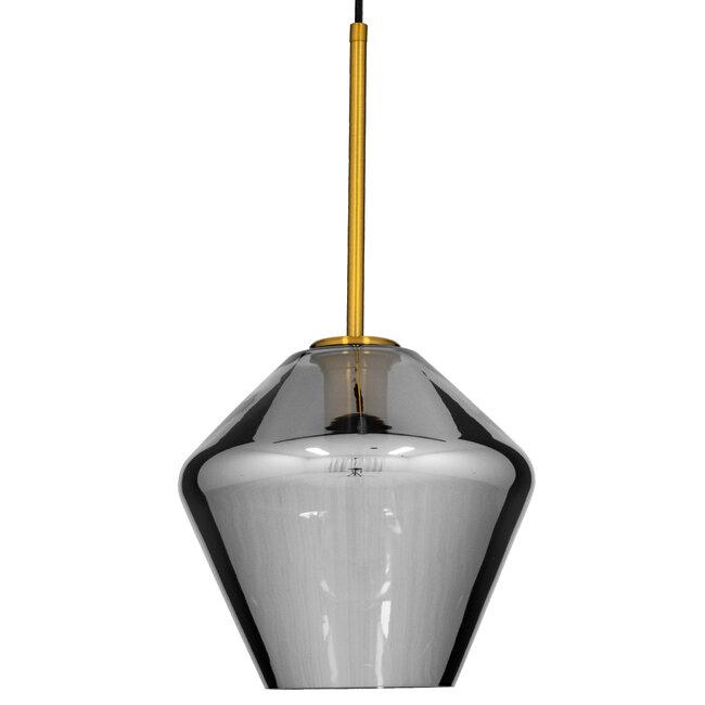 GloboStar® AMARIS 00872 Μοντέρνο Κρεμαστό Φωτιστικό Οροφής Μονόφωτο Γυάλινο Φιμέ Νίκελ Φ22 x 22CM - 4