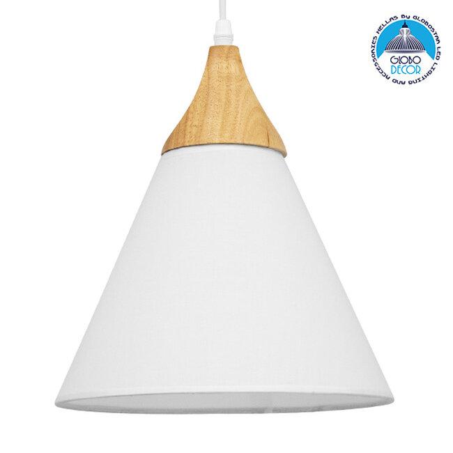 Μοντέρνο Κρεμαστό Φωτιστικό Οροφής Μονόφωτο Λευκό Υφασμάτινο με Ξύλο Καμπάνα Ø25x30cm  SHADE WHITE 01577 - 1