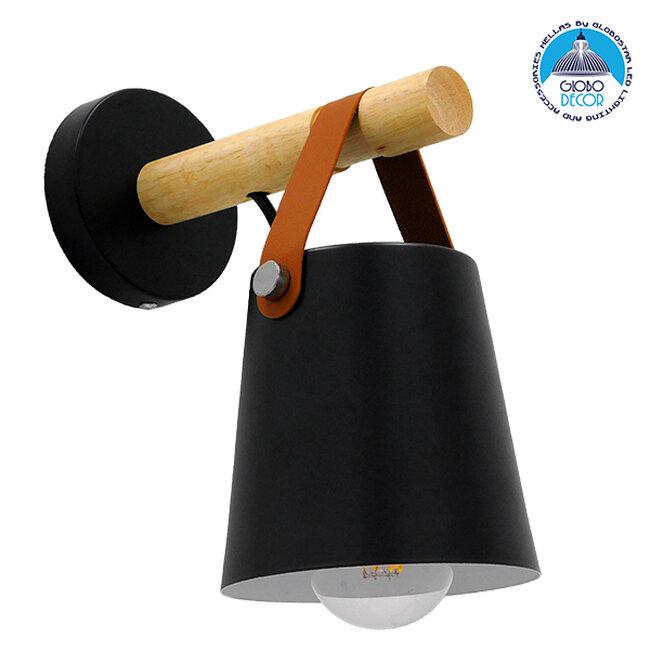 Μοντέρνο Φωτιστικό Τοίχου Απλίκα Μονόφωτο Μαύρο με Ξύλο και Δερμάτινο Λουράκι Μεταλλικό Ø13xΜ13xΠ19xY14cm GloboStar AMY BLACK 00947 - 1