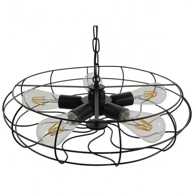 Vintage Industrial Κρεμαστό Φωτιστικό Οροφής Πολύφωτο Μαύρο Μεταλλικό Πλέγμα Φ46  HELIX 01164 - 5