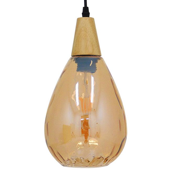 Μοντέρνο Κρεμαστό Φωτιστικό Οροφής Μονόφωτο Γυάλινο με Ξύλο Μελί Φ16  NOAH GOLD 01490 - 5