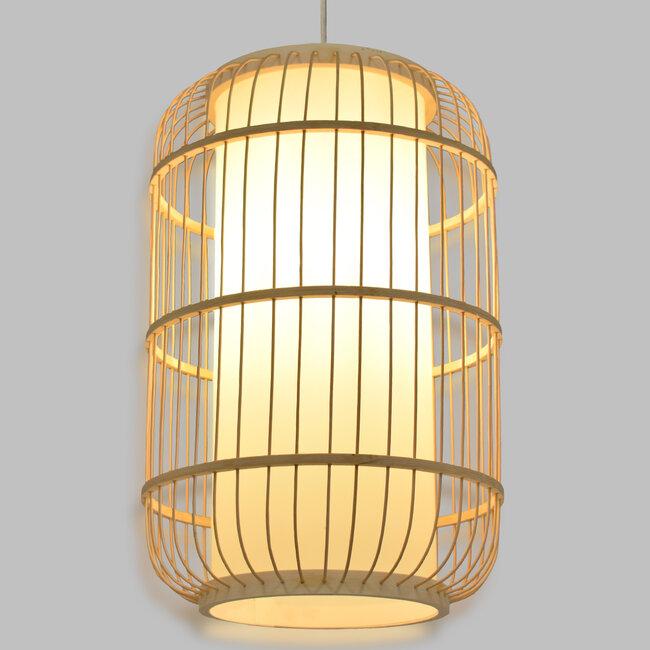 DE PARIS 00893 Vintage Κρεμαστό Φωτιστικό Οροφής Μονόφωτο Μπεζ Ξύλινο Bamboo Φ25 x Υ42cm - 2