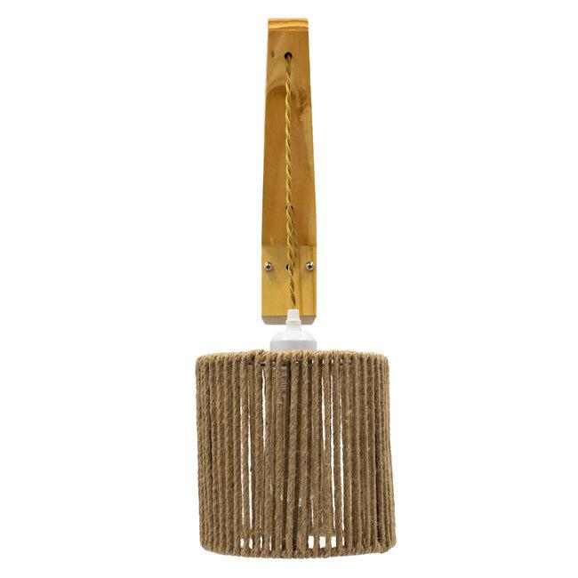 CASTI 00886 Vintage Φωτιστικό Τοίχου Απλίκα Μονόφωτο Μπεζ Ξύλινο με Σχοινί και Καπέλο Φ19 x Μ19 x Π35 x Υ30-85cm - 3