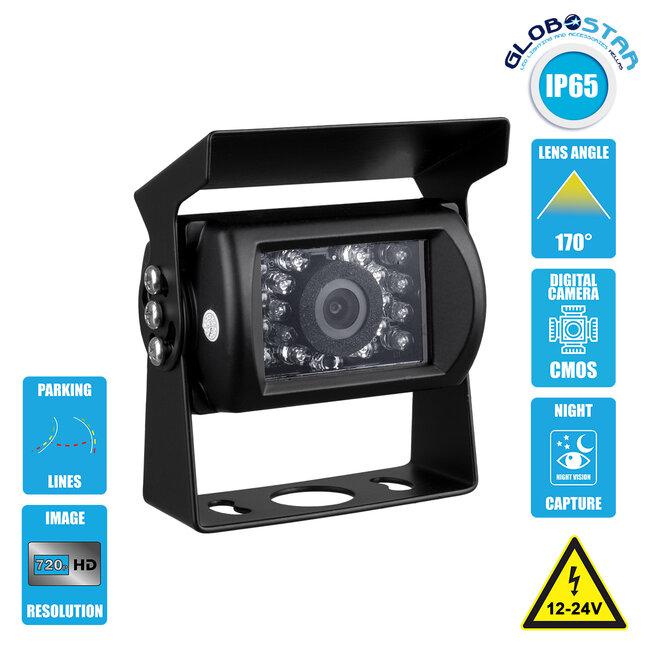 86024 Έγχρωμη Κάμερα 720p CMOS HD Οπισθοπορείας Αυτοκινήτου-Φορτηγού DC 12-24V 170° Night Capture με Parking Lines & 10 Μέτρα Καλώδιο Σήματος RCA Αδιάβροχη IP65