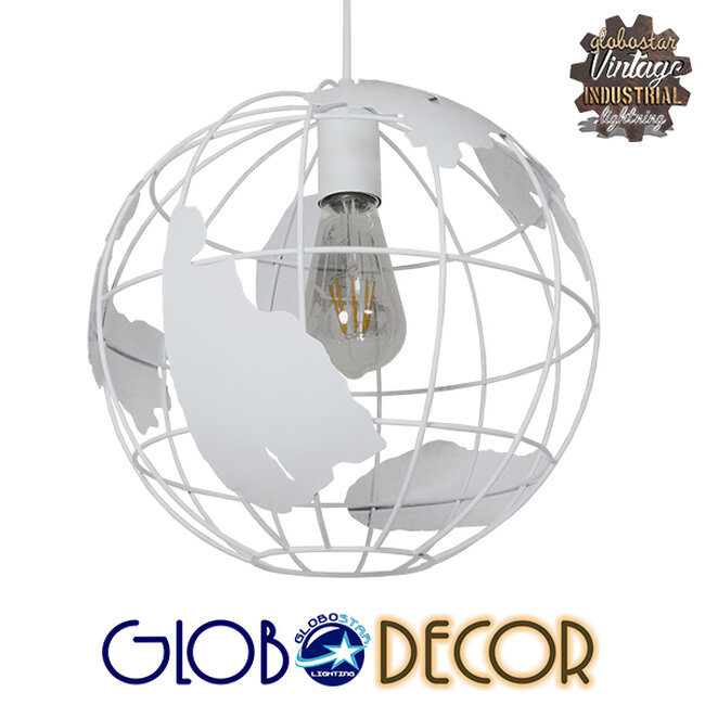 Vintage Industrial Κρεμαστό Φωτιστικό Οροφής Μονόφωτο Λευκό Μεταλλικό Πλέγμα Φ30  LAND 01382 - 1