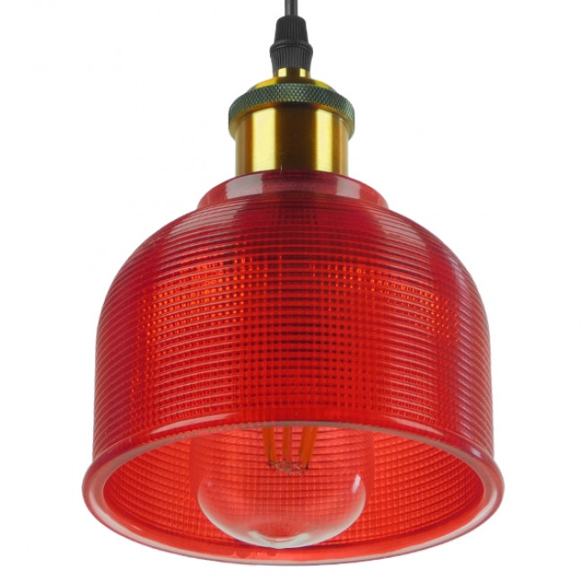 Vintage Κρεμαστό Φωτιστικό Οροφής Μονόφωτο Κόκκινο Γυάλινο Διάφανο Καμπάνα με Χρυσό Ντουί Φ14 GloboStar SEGRETO RED 01450 - 5