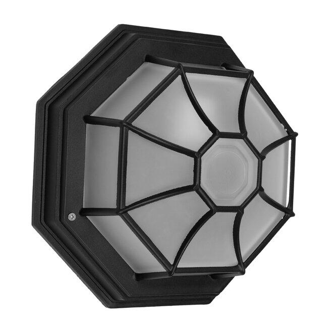 GloboStar® RUBY 00912 Vintage Μεταλλικό Φωτιστικό Πλαφονιέρα Οροφής - Απλίκα Τοίχου από Αλουμίνιο με Ντουί E27 Μονόφωτο Μαύρο με Γαλακτερό Γυαλί Μ27 x Π27 x Υ12cm - 4
