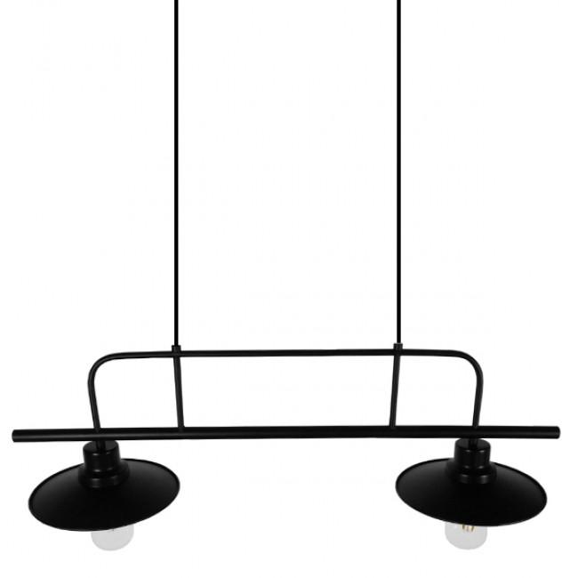 Vintage Industrial Φωτιστικό Οροφής Δίφωτο Μαύρο Μεταλλικό Ράγα GloboStar BILLIARD BLACK 01007 - 5