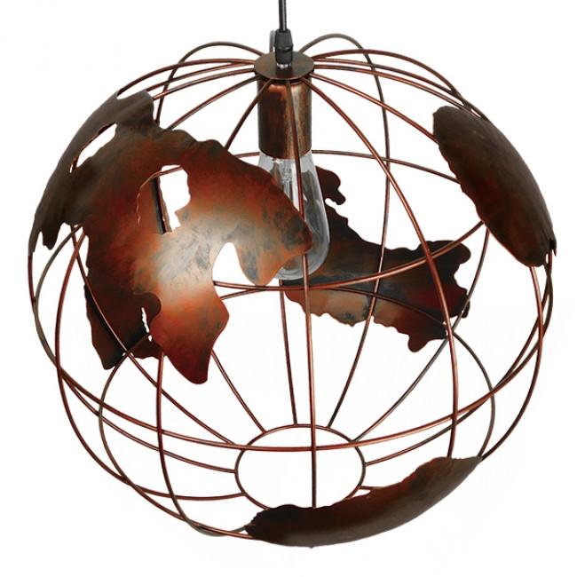 Vintage Industrial Κρεμαστό Φωτιστικό Οροφής Μονόφωτο Καφέ Σκουριά Μεταλλικό Πλέγμα Φ40  EARTH RUST 40CM 01665 - 4