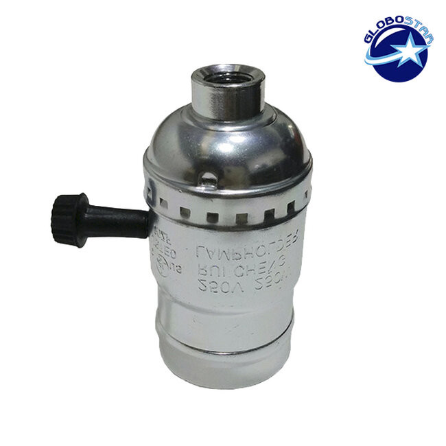 Vintage Industrial Retro E27 Ασημί Ντουί με Διακόπτη DIY GloboStar 90017