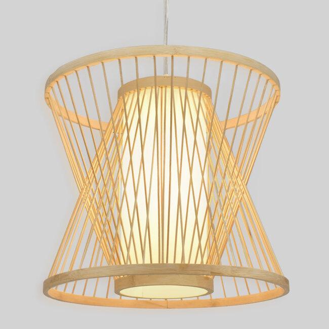 GloboStar® DE PARIS 01632 Vintage Κρεμαστό Φωτιστικό Οροφής Μονόφωτο Μπεζ Ξύλινο Bamboo Φ35 x Y32cm - 2