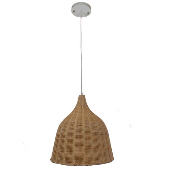 Vintage Κρεμαστό Φωτιστικό Οροφής Μονόφωτο Μπεζ Ξύλινο Ψάθινο Rattan Φ45  NATH 01203 - 2