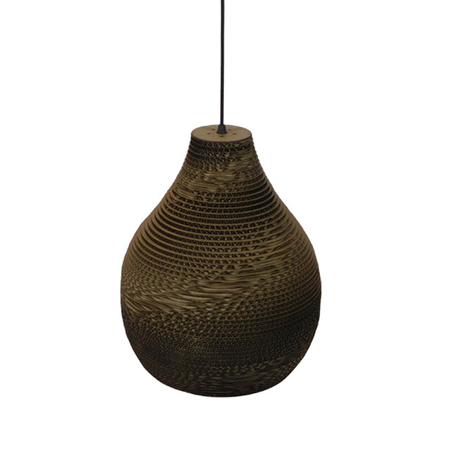 Vintage Κρεμαστό Φωτιστικό Οροφής Μονόφωτο 3D από Επεξεργασμένο Σκληρό Καφέ Χαρτόνι Καμπάνα Φ30  MYKONOS 01292 - 4