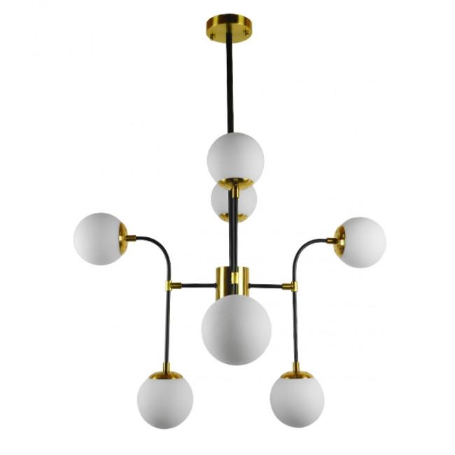 Vintage Industrial Φωτιστικό Οροφής Πολύφωτο Μαύρο Χρυσό Μεταλλικό Πολυέλαιος με Γυάλινες Μπάλες Λευκό Ματ GloboStar STARDUST 01649 - 2