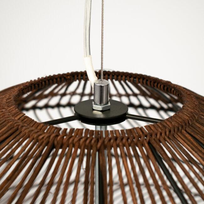 GloboStar® MALIBU 00967 Vintage Κρεμαστό Φωτιστικό Οροφής Μονόφωτο Λευκό Ξύλινο Bamboo Φ97 x Y86cm - 6