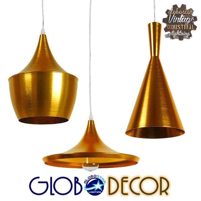 SET 3 Μοντέρνα Κρεμαστά Φωτιστικά Οροφής Μονόφωτα Χρυσά Μεταλλικά Καμπάνα  SHANGHAI GOLD 01678 - 1