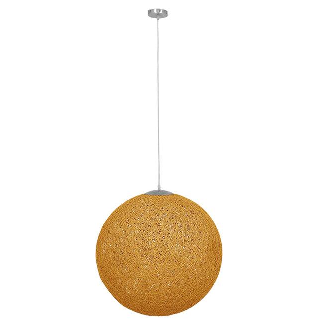 Vintage Κρεμαστό Φωτιστικό Οροφής Μονόφωτο Μπεζ Χρυσό Ξύλινο Ψάθινο Rattan Φ60  LOFT 01361 - 2