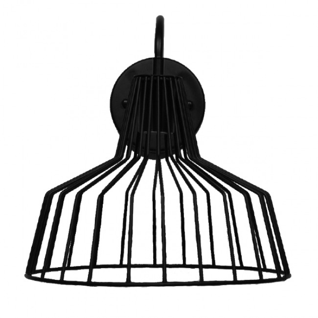 Vintage Industrial Φωτιστικό Τοίχου Απλίκα Μονόφωτο Μαύρο Μεταλλικό Πλέγμα Καμπάνα Φ30 GloboStar TRIUMPH 01117 - 2
