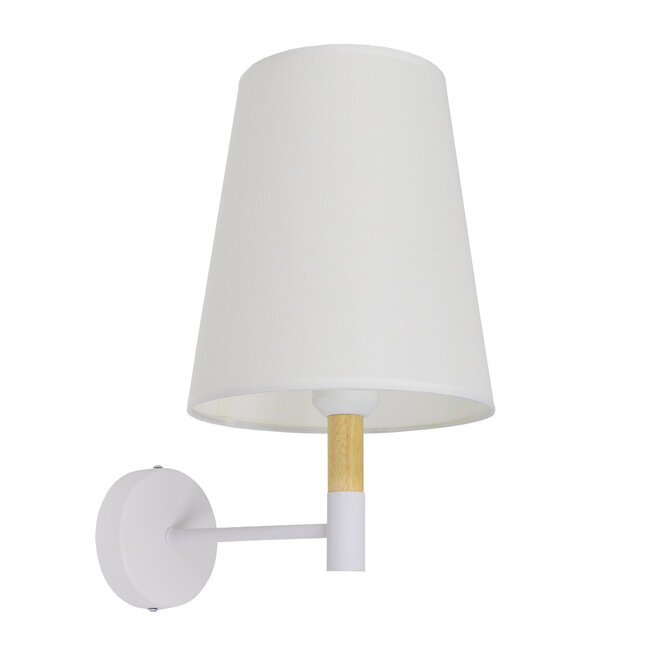 Μοντέρνο Φωτιστικό Τοίχου Απλίκα Μονόφωτο Λευκό με Μπέζ Ξύλο Μεταλλικό Φ20  LYDFORD WHITE 01433 - 3