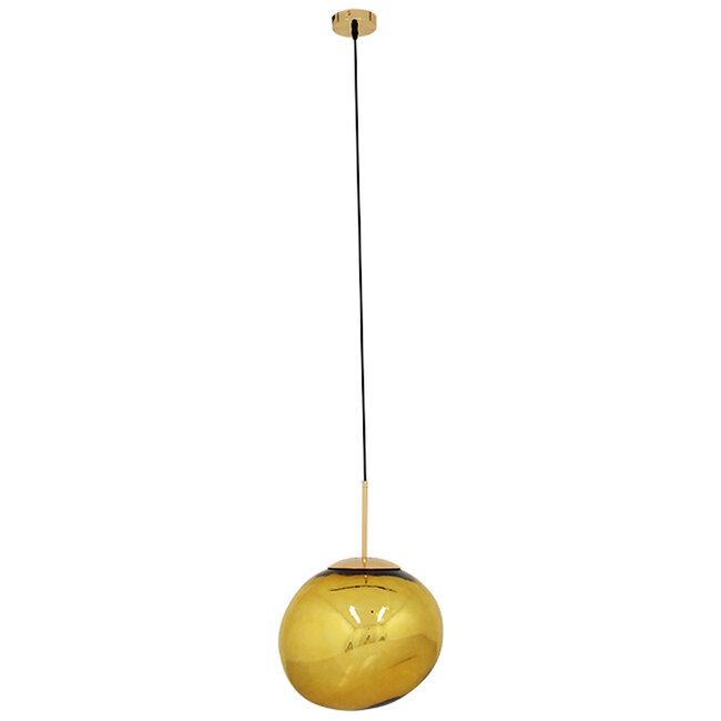 Μοντέρνο Κρεμαστό Φωτιστικό Οροφής Μονόφωτο Γυάλινο Χρυσό Φ36  DIXXON GOLD 01466 - 3