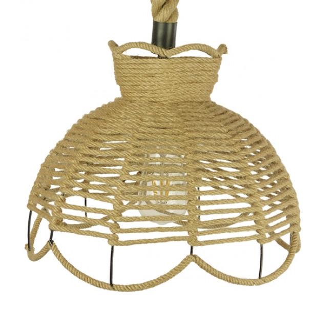 Vintage Κρεμαστό Φωτιστικό Οροφής Μονόφωτο Πλέγμα με Μπεζ Σχοινί Φ34 GloboStar VENIER 01610 - 4
