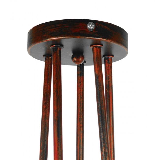 Μοντέρνο Industrial Φωτιστικό Οροφής Πολύφωτο Καφέ Σκουριά Μεταλλικό Φ76  QUARZO 01564 - 8