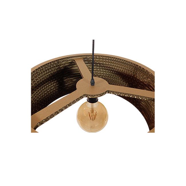 Vintage Κρεμαστό Φωτιστικό Οροφής Μονόφωτο 3D από Επεξεργασμένο Σκληρό Καφέ Χαρτόνι Καμπάνα Φ50  SKOPELOS 01297 - 7